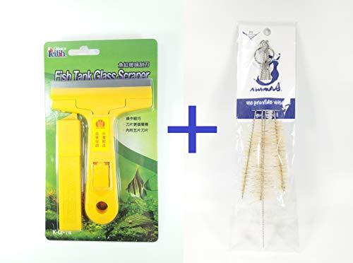 Aquarium Fish Tank Glass Algae Scraper Blade Cleaner with 5 pcs of Replace Blade & Stainless Filter Brush Set