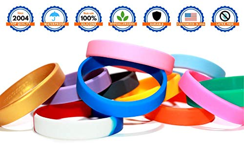 Reminderband Classic Custom 100% Silicone Wristband - Personalized Silicone Rubber Bracelet - Customized for Events, Gifts, Support, Causes, Fundraisers, Awareness, Men/Women