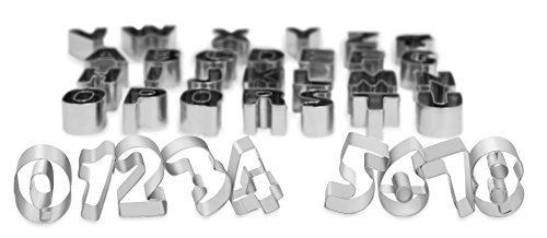 Internet's Best Full Alphabet and Numbers Cookie Cutter Set in Tin Box | 35 Piece Capital Letters Cutter Molds | Fruit Biscuit Fondant Cutters | Compact Box | Small