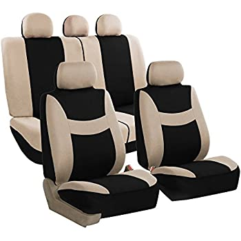 FH GROUP FB030115 SEAT Light Breezy Beige Black Cloth Seat Cover Set Airbag Split Ready Fit Most Car Truck Suv Or Van