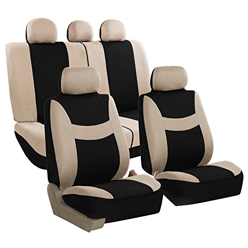 FH GROUP FH-FB030115-SEAT Light & Breezy Beige/Black Cloth Seat Cover Set Airbag & Split Ready- Fit Most Car, Truck, Suv, or Van -
