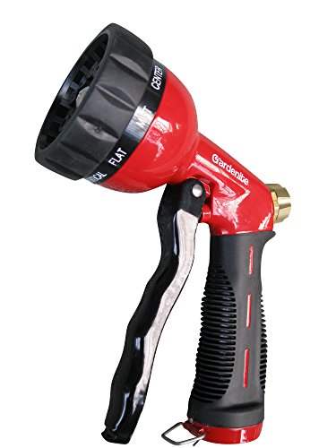 Polished Red Enamel - Garden Hose Nozzle / Hand Sprayer - Heavy Duty 10 Pattern Metal Watering Nozzle - High Pressure - Pistol Grip Front Trigger - Flow Control Setting Knob - Suitable for Car Wash, Cleaning, Watering Lawn and Garden - Ideal for Washing Dogs & Pets