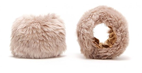 Women's Faux Fur Wrist Cuffs Band Short Arm Warmers Winter Accessory Christmas Gift