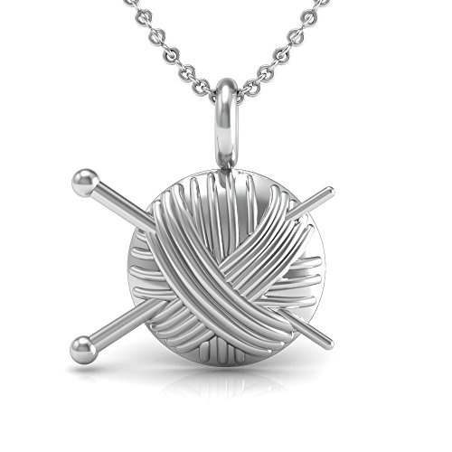 .The Best Knitting Necklace gift, 925 Sterling Silver 18 inch necklace with a Super Cute Knitting Needles and Yarn Charm - Charm Knitting Needles