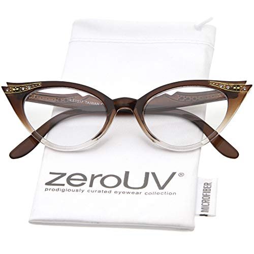 Vintage Cateyes 80s Inspired Fashion Clear Lens Cat Eye Glasses with Rhinestones (Brown-Fade)