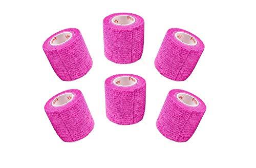 2 Inch Vet Wrap Tape Bulk (Fuchsia) (Pack of 6) Self Adhesive Adherent Adhering Flex Bandage Rap Grip Roll for Dog Cat Pet Horse