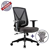 CLATINA Ergonomic High Mesh Swivel Desk Chair with Adjustable Height Arm Rest Lumbar Support and Upholstered Back for Home Office