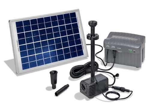 esotec Solar-Pumpensystem mit Akku und LED's