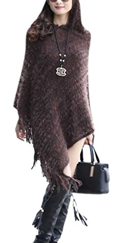 Enlishop Women Elegant Fringe Striped Hooded Knit Cardigan Sweater Poncho - Furry Hem Knit