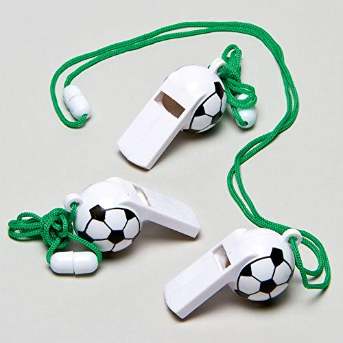 Football Whistles Perfect Party Bag Filler for Children (Pack of 6) Plastic Noisemakers Perfect for Kids Goodie Bags, Halloween Party Favors, Pinata Filler or Birthday -