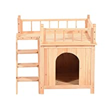 PawHut 2-Story Wood Pet House Cat Tree Small Dog Puppy Bed Platform Outdoor Shelter With Stair