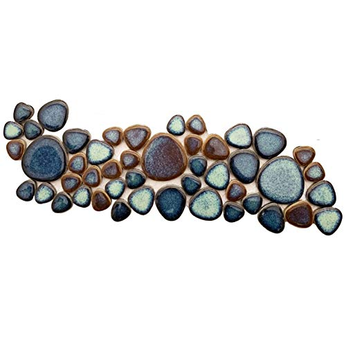 Hominter Sample Tile 3x12 Inches, Pebble Porcelain Tile Mixed Aqua and Brown, Glazed Ceramic Mosaic Heart-Shaped Pebbles, Swimming Pool Kitchen Backsplash Bath Shower Wall & Floor Tiles CZG619A