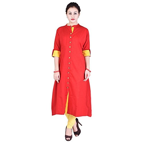 0d2e589884a VAIDIKI Red Colour Designer Front Slit Long Kurta New Formal wear Kurti  Collection For Ladies  Amazon.in  Clothing   Accessories