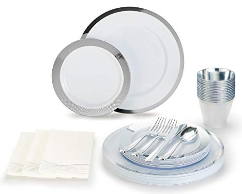 By Madee Silver Disposable Plastic Plates 175 Pcs 25 Dinner Plates 25 Salad Plates 50 Forks 25 Knives 25 Spoons 25…