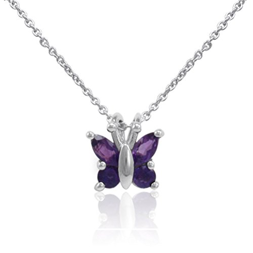- Sterling Silver Amethyst Butterfly Pendant-Necklace on an 18 inch Chain