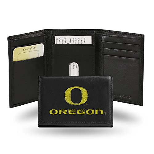 (Oregon Ducks Embroidered Leather Tri-Fold Wallet)