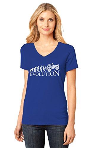 (TeeStars - Evolution 4x4 - Gift for Off Road Lovers - Cool V-Neck Women T-Shirt Large Blue)