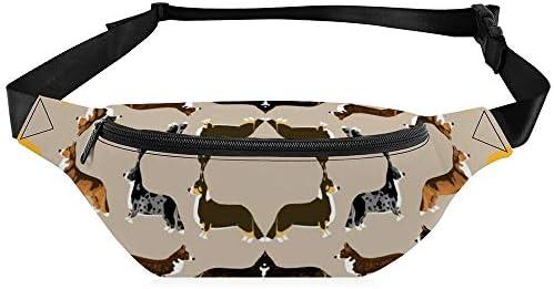 コーギーコーギーペット犬犬犬かわいいコーギーカーディガンコーギーコーギーウェールズコーギー赤コーギー ウエストバッグ ショルダーバッグチェストバッグ ヒップバッグ 多機能 防水 軽量 スポーツアウトドアクロスボディバッグユニセックスピクニック小旅行
