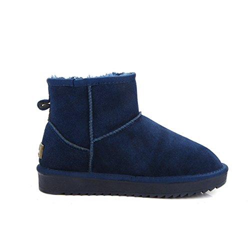 Homiki Damenschuhe Kurzschaft Stiefeletten Schneeboots Round Toe FlachePlateauschuhe Knöchelstiefel Blau EU39 6LyGCqL