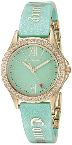 Juicy Couture Black Label Women's JC/1068MIGB Swarovski Crystal Accented Gold-Tone and Mint Green Shimmer Resin Bangle Watch