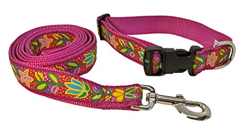 Preston Bristol Flower Dog Collar and Leash Set – Bright Multi Colored Floral Ribbon on Raspberry Pink Nylon Webbing