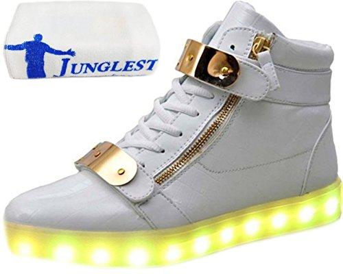 LED luce bianco carica moda piccolo alla unisex Presente asciugamano USB 7 lampeggianti JUNGLEST Scarpe donna colori da camminat luminosi bianco da uomo OYYZ1qW