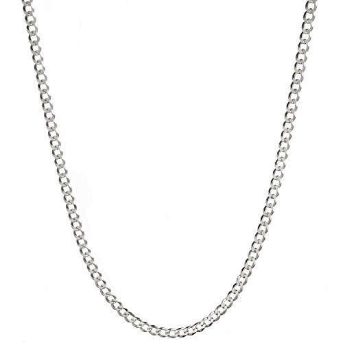 - Sterling Silver Men's Italian 4.2mm Diamond-Cut Cuban Curb Chain Necklace - 24