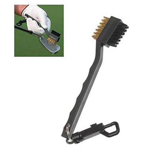 (Pocktyle High Quality Lightweight Portable 2 Sided Brass Wires Nylon Golf Brush with Clip Cleaning Kit Tool Groove Ball Cleaner Golf Club Brush)