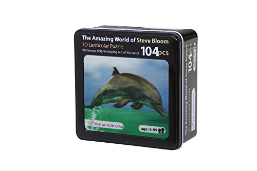 Lenticular Puzzle 3d - The Purple Cow– 3D Lenticular Puzzle of a Dolphin 60 Piece Kids Puzzle Photography by Steve Bloom Images. Great Gift Idea for Christmas, Birthdays and All Occasions for Age 6 and Up.