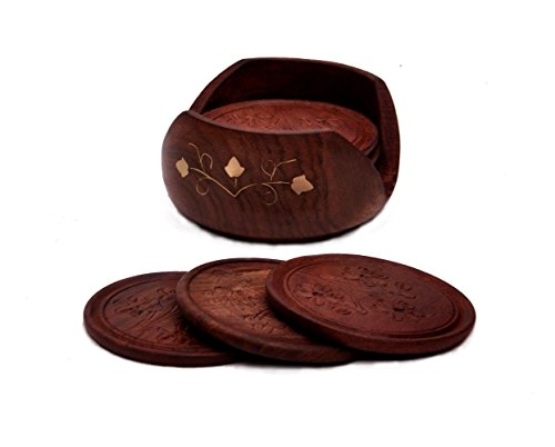Todays Big Deal – Javi Clearance Sale – Parents Day Gift Drink Coasters Set with 6 Round Handmade Table Coasters  Decorative Wooden Holder Home Decor…