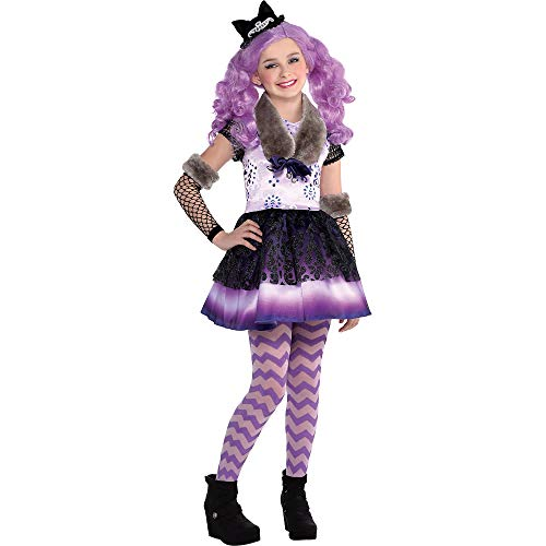 Ever After High Halloween Costume (Costumes USA Ever After High Kitty Cheshire Costume for Girls, Size Medium, Includes a Dress, Tights, a Wig, and)