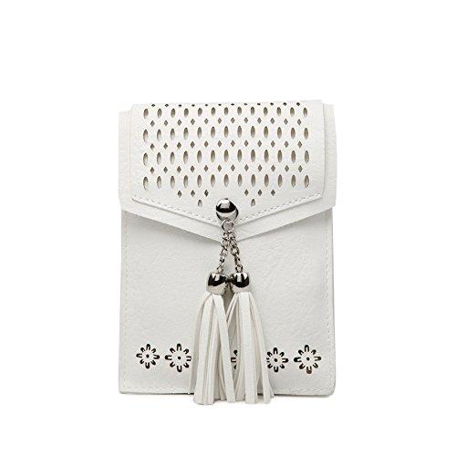 Women Small Crossbody Bag, seOSTO Tassel Cell Phone Purse Wallet Bags (White) … by seOSTO (Image #1)