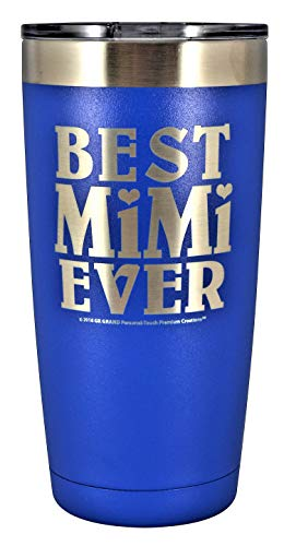 (MIMI GIFT - Engraved BEST MIMI EVER Stainless Steel Tumbler 20 oz Premium Quality Vacuum Insulated Large Travel Coffee Mug Hot & Cold Drinks Grandma Mother's Day Christmas Birthday (Blue))