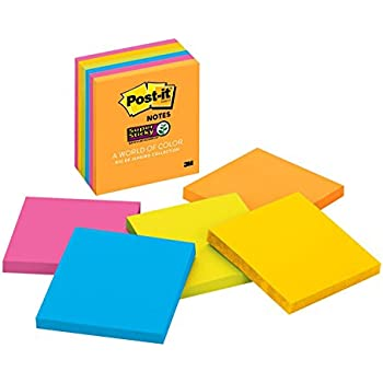 Post-it Super Sticky Notes, 2x Sticking Power, 2x Sticking Power, 3 in x 3 in, Rio de Janeiro Collection, 6 Pads/Pack (654-6SSAU)