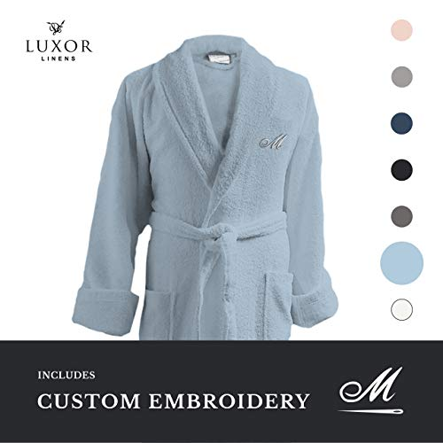 Luxor Linens - Terry Cloth Bathrobe in a Variety of Colors - 100% Egyptian Cotton - Luxurious, Soft, Plush Durable Robe - Light Blue
