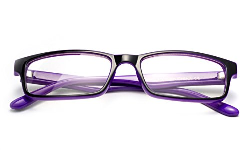 Newbee Fashion - Simple Sleek Squared Fashion Eye Glasses Clear Lens Frames for Women and Men Cosplay Accessories Black/Purple