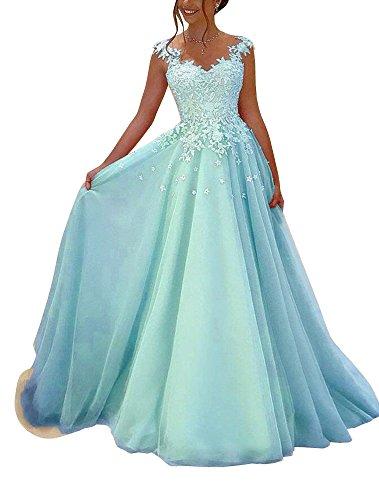 Yangprom Elegant V-Neck Lace Appliques Floor-Length A-line Prom Evening Dress (12, Light Blue)