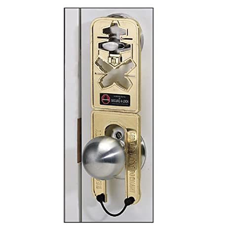 Secure-A-LockTM is a compact deadbolt lock restrictor designed to prevent a deadbolt from being opened, even with a key, from the outside of the door.