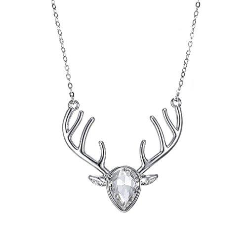 eManco Gold Statement Deer Antler Cute Animal White Cyrstal Pendant Necklace for Women Fashion - Logo Bag Horse Brand Korean With