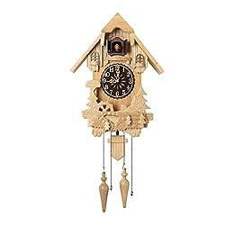 DeRuiLa Cuckoo Clock,Traditional Chalet Black Forest House Clock Handcrafted Wooden Wall Pendulum Quartz Clock,No Paint Green Wood for Children's Room Living Room