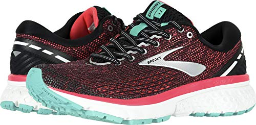 Brooks Women's Ghost 11 Black/Pink/Aqua 9.5 Wide US ()