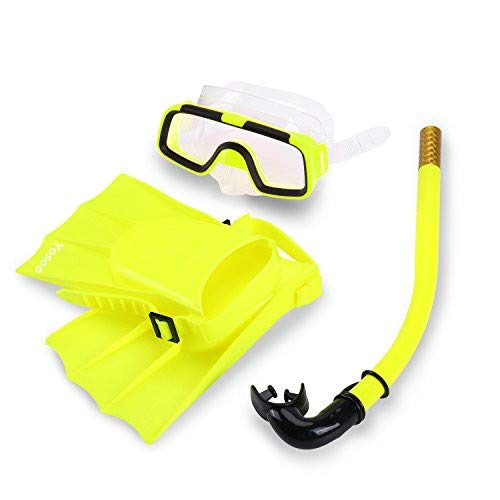 Yosoo Children Kids Swimming Diving Silicone Fins +Snorkel Scuba Eyeglasses + Mask Snorkel Silicone Set for 8-12.5 US Foot Size (Yellow) ()