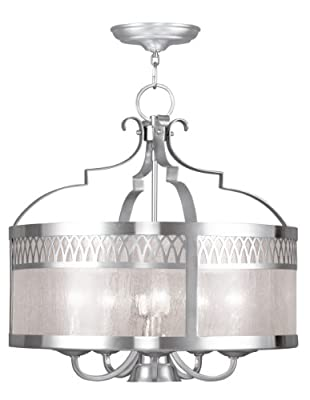 Livex Lighting 4735-91 Chandelier with Seeded Glass Shades, Brushed Nickel
