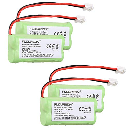 FLOUREON 4Packs Rechargeable Cordless Phone Batteries for Vtech 6053 CS6219 Uniden BT1011 BT-1011 BT1018 BT-1018 BT1022 BT-1022 BT18433 BT-18433, BT18432 BT-184342, BT28433 BT-28433, BT284342 BT-28434