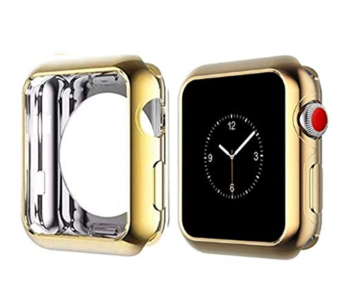 Case for Apple Watch 44mm 40mm Series 4 Soft Flexible Case Ultra Thin Protective Bumper for iWatch (40mm, Gold)