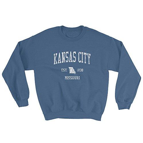 Kansas City Missouri Sweatshirt Vintage Sports State Design - Indigo Blue