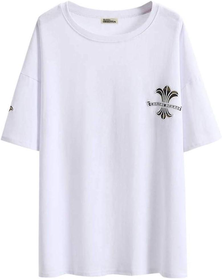 O&YQ Camiseta Mujer Marea de Manga Corta Hip-Hop Verano Suelta Cuello Redondo Largo Camiseta Top, Blanco, 2XL: Amazon.es: Deportes y aire libre