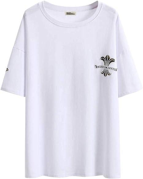 O&YQ Camiseta Mujer Marea de Manga Corta Hip-Hop Verano Suelta Cuello Redondo Largo Camiseta Top, Blanco, s: Amazon.es: Deportes y aire libre