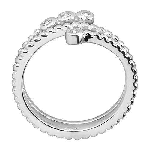 Silpada Interstellar White Cubic Zirconia Textured Wrap Ring in Sterling Silver