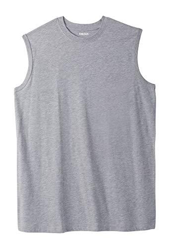 KingSize Men's Big & Tall Lightweight Cotton Muscle Shirt, Heather Grey Tall-L